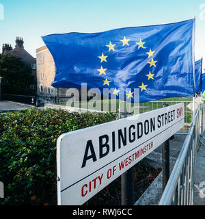 Abingdon Street in Westminster, London with EU flag in protest against Brexit. - Stock Image