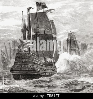 A 19th century ship of the line with three running gun batteries from stern to prow.  From La Ilustracion Iberica, published 1884. - Stock Image