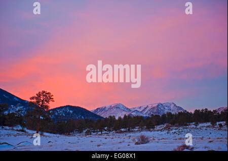 Rocky Mountain National Park, sunset, winter - Stock Image