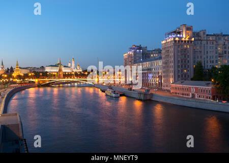view from bridge Patriarshiy Peshekhodnyy Most to kremlin, moscow, russia - Stock Image
