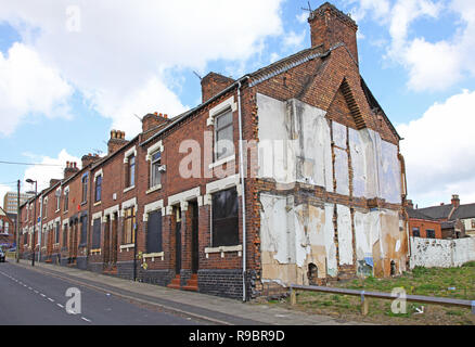 Derelict houses waiting to be demolished at Stoke-on-Trent, Staffordshire, England, UK - Stock Image