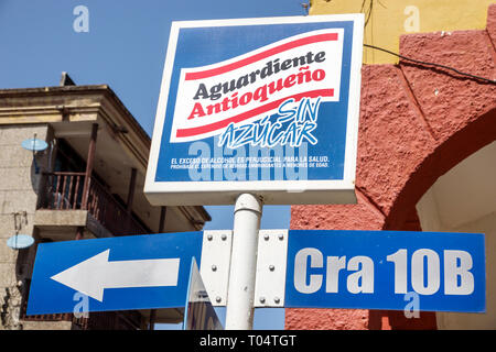 Cartagena Colombia Old Walled City Center centre Getsemani sign Spanish language Aguardiente Antioqueno sugar free alcoholic drink liquor ad anti-drin - Stock Image