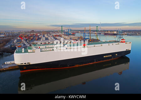 Aerial View of Vehicle Car Carrier Cargo Ship - Stock Image