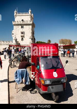 Portugal, Lisbon, Belem, Torre de Belem, wine with a view mobile bar in Ape van, beside Belém Tower - Stock Image