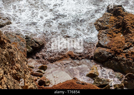 waves crashing into a rocky coast at Grand Fond, St Barts - Stock Image