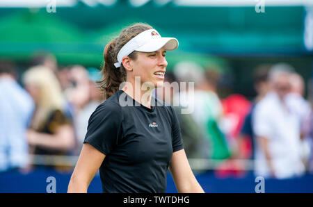 Eastbourne UK 23rd June 2019 - Johanna Konta of Great Britain looks relaxed as she practices on an outside court at the Nature Valley International tennis tournament held at Devonshire Park in Eastbourne . Credit : Simon Dack / TPI / Alamy Live News - Stock Image
