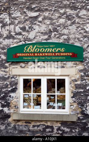 Bakewell pudding tart shop Peak District National Park Derbyshire - Stock Image