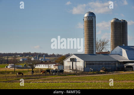 a typical small farm near Georgetown, Lancaster County, Pennsylvania, USA - Stock Image