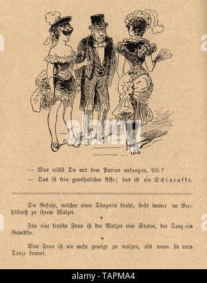 Victorian Cartoon of senior man with two young showgirls, 1880s, German 19th Century - Stock Image