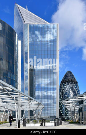 Gherkin London with Scalpel landmark skyscraper office building Fen Court Fenchurch Street rooftop garden & viewing platform City of London England UK - Stock Image
