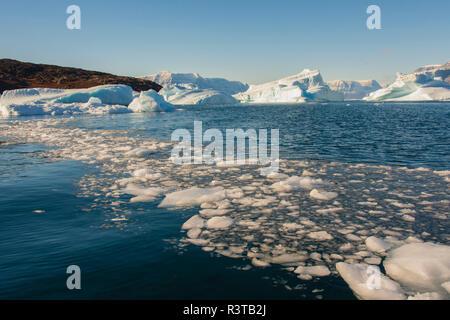 Greenland. Scoresby Sund. Gasefjord. Krogen. Brash ice and icebergs. - Stock Image