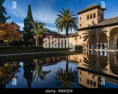 Tourists in the Garden of the Partal at the Alhambra; Granada, Spain - Stock Image