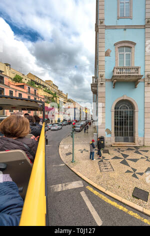 City view from touristic bus. Lisboa, Portugal - Stock Image