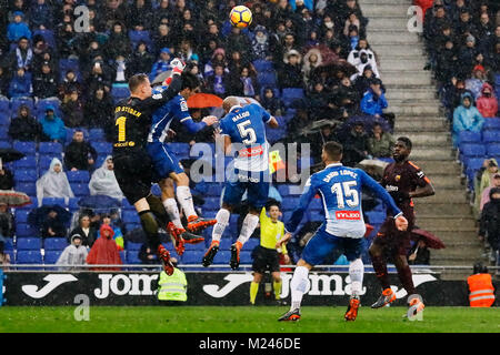 Camp Nou, Barcelona, Spain.4th Feb, 2018. The 22nd round of La Liga 17/18 on the match between Rcd Espanyol v Fc - Stock Image