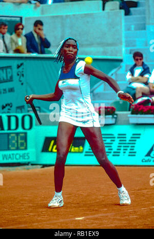 Venus Williams (USA) competing at the 1998 French OpenTennis Championship. - Stock Image