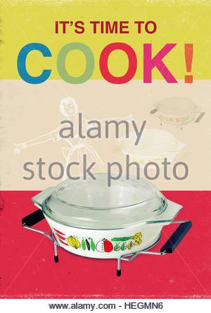 Time to cook mid century retro kitsch vintage lifestyle - Stock Image