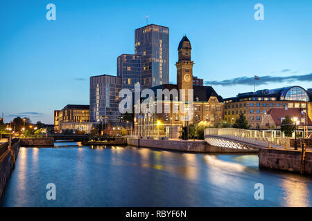 Malmo, Sweden. Beautiful cityscape with canal and skyline at dusk - Stock Image