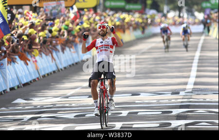 Macon to Saint-Etienne, France. 13th July 2019. Macon to Saint-Etienne, France. 13th July 2019,  Macon to Saint-Etienne, France; Tour de France cycling tour, stage 8; Thomas De Gendt, (BEL) Lotto Soudal crosses the finish line to win the stage Credit: Action Plus Sports Images/Alamy Live News Credit: Action Plus Sports Images/Alamy Live News - Stock Image