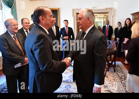 U.S. Secretary of State Rex Tillerson greets Brazilian Foreign Minister Aloysio Nunes Ferreira before their bilateral - Stock Image