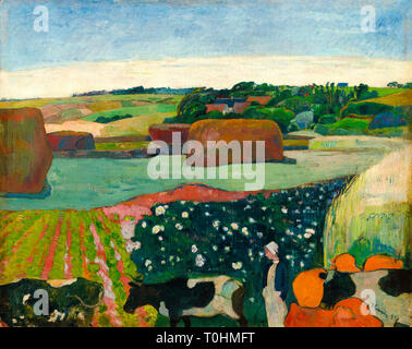Paul Gauguin, Haystacks in Brittany, painting, 1890 - Stock Image