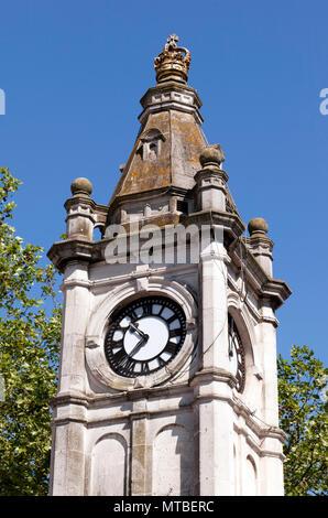 Close-up  view of Lewisham Clock Tower, Lewisham High-street - Stock Image