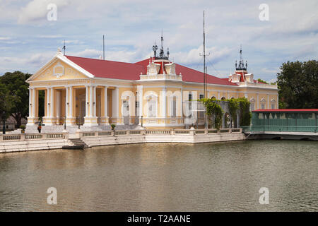 Warophat Phiman Throne Hall at Bang Pa-In Palace at Bang Pa-In Palace, Ayutthaya, Thailand. - Stock Image
