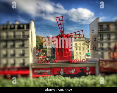 Moulin Rouge, Paris, France urban scene depicted in Lego at Legoland , UK - Stock Image