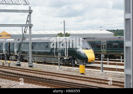 GWR liveried IEP No.800004 sits in Reading train care depot before running to London Paddington on 30 Jun 2016 carrying - Stock Image