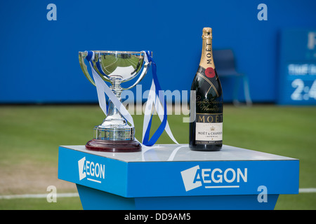 The mens trophy for the Aegon International 2013 tournament with a bottle of Moet champagne ready for the presentation - Stock Image