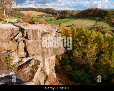 Winster, Peak District National Park, UK. 28th Oct, 2018. Weather UK: rock climber enjoying the sunny October weather at Cratcliffe Tor near Elton, Winster, Peak District National Park Credit: Doug Blane/Alamy Live News - Stock Image