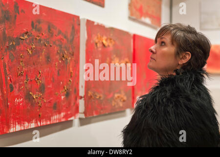 Huntington, New York, U.S. - March 1, 2014 - A visitor looks at the exhibit 'Red & White Paintings & Photographs – El Vocio Existential,' by artist Barry Feuerstein at the Opening  Reception '3 Wild & Crazy Artists' at FotoFoto Gallery. - Stock Image