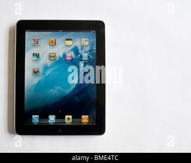 Apple iPad, Touchscreen Tablet Computer, Book Reader, Digital Ebook, Modern, Logo, Brand, Luxury, copy space - Stock Image