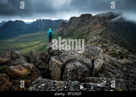 On the top of Du Cane Range in Cradle Mountain–Lake St Clair National Park, Tasmania - Stock Image