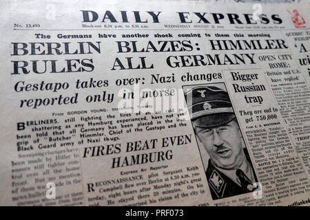 Front page headlines of the Daily Express newspaper 'Berlin Blazes: Himmler Rules All Germany' London England UK  August 25 1943 - Stock Image