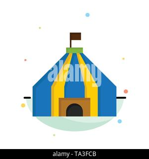 Tent, Tent, Circus Abstract Flat Color Icon Template - Stock Image