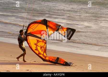 south africa cape town bloubergstrand kitesurfer - Stock Image