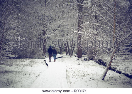 Couple walking in park during winter - Stock Image