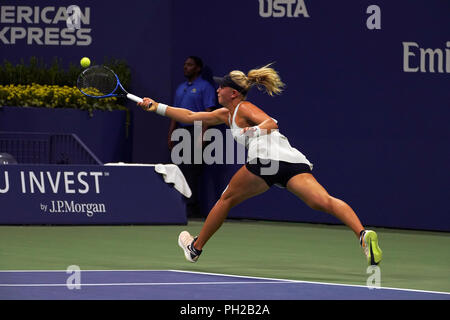 New York, United States. 29th Aug, 2018. Flushing Meadows, New York - August 29, 2018: US Open Tennis: Carina Withoeft of Germany reaches for a forehand during her second round match against Serena Williams at the US Open in Flushing Meadows, New York. Williams won the match in straight sets to advance to the next round. Credit: Adam Stoltman/Alamy Live News - Stock Image