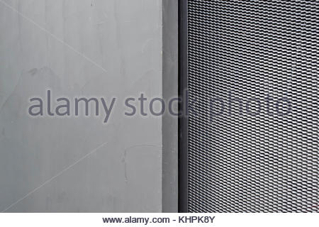 Grey silver textured concrete background with metal pattern - Stock Image