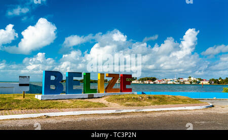 Welcome to Belize Sign at the Caribbean Sea - Stock Image