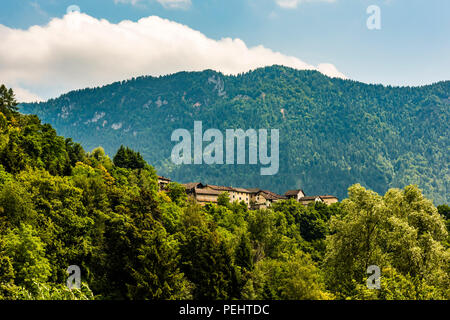 Village in the trees on Monte Lefre in the Valsugana, Trentino, Italy - Stock Image