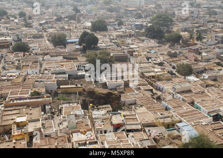 Aerial view of Badami town. View from Badami caves. - Stock Image