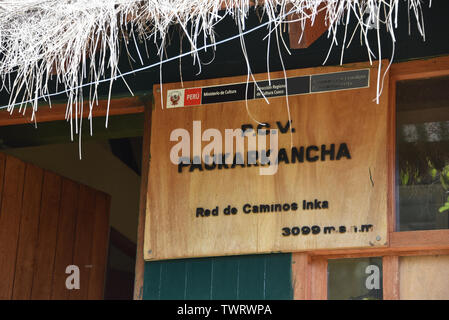 Cusco, Peru - Oct 16, 2018: Sign at the Paukarkancha checkpoint on the Inca Trail trek - Stock Image