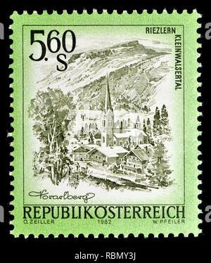 Austrian definitive postage stamp (1982) : Riezlern Kleinwalsertal - Stock Image