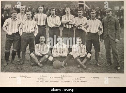 The Sheffield Wednesday team - Association champions. Team photograph. Illustrated sporting and dramatic news. 14 April 1896. Sheffield Wednesday won the FA Cup in 1896, beating Wolverhampton Wanderers 2–1 at Crystal Palace. Source: Illustrated sporting and dramatic news. page 273. - Stock Image