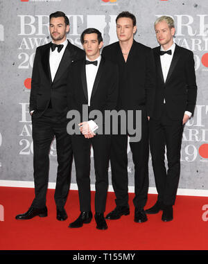 The Brit Awards 2019 held at the O2 - Arrivals  Featuring: The 1975, Matty Healy, Adam Hann, Ross MacDonald, George Daniel Where: London, United Kingdom When: 20 Feb 2019 Credit: WENN.com - Stock Image