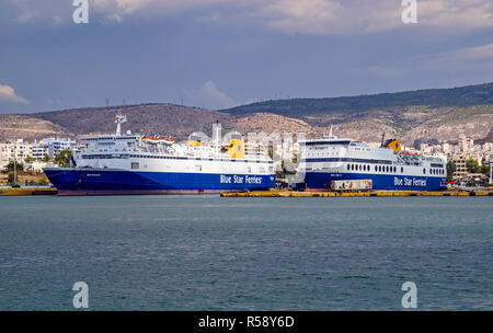 Blue Star Ferries Blue Star Horizon & Blue Star 2 moored in port of Piraeus Athens Greece Europe - Stock Image