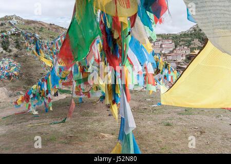 Tibetan Buddhist Prayer flags en route Ganden Monastery kora, Lhasa, Tibet, shot in 2007 - Stock Image