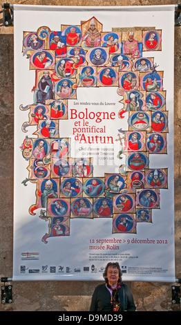 Poster advertising Bologne et le pontifical d'Autun Burgundy France - Stock Image