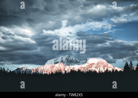 Wonderful Sunset at Hintersee Lake in Bavarian Alps. Awesome Alpine Highlands during sunrise. - Stock Image